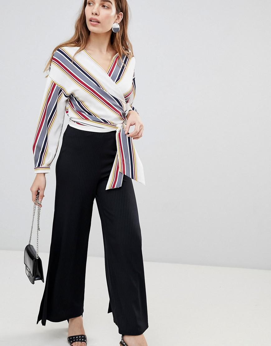 Rib Split Side Wide Leg Trouser - Black New Look Best Seller For Sale Reliable Cheap Price Outlet Collections UrfkdUyrQ