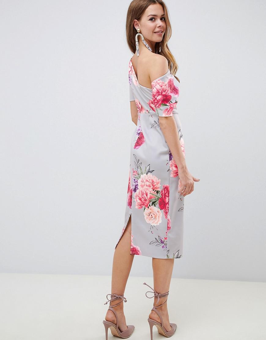 9dedd0a0f7844 ASOS Pleated Shoulder Pencil Dress In Large Floral - Lyst