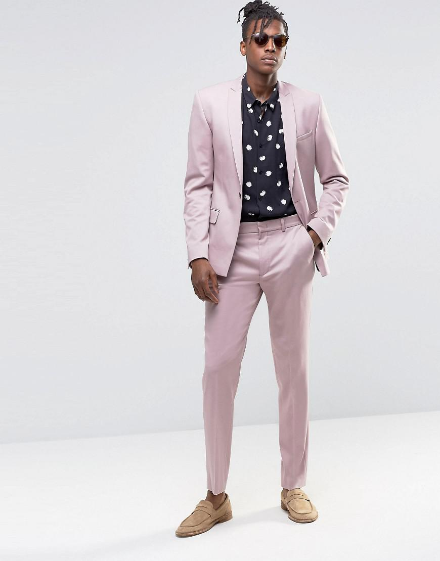 ASOS Synthetic Slim Suit Trousers In Dusty Pink for Men