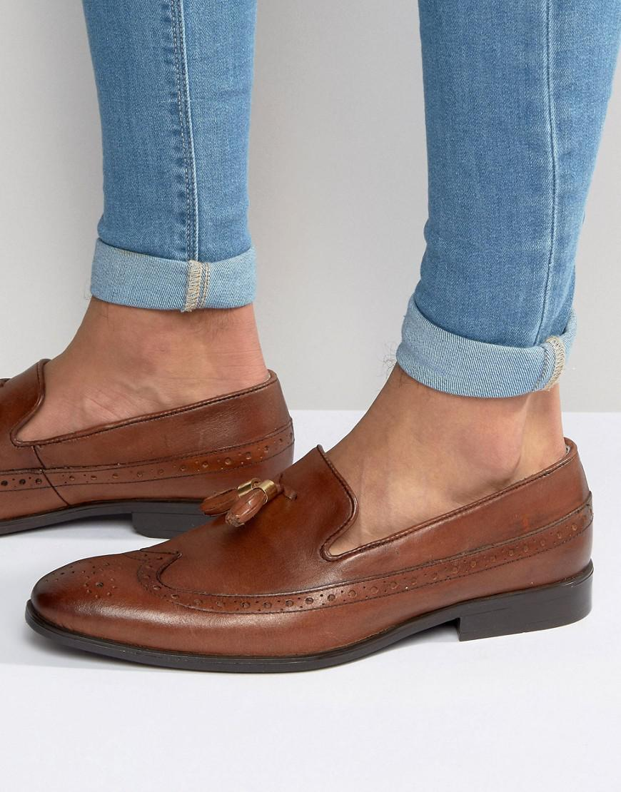 92dc72d23a1 Lyst - ASOS Brogue Loafers In Tan Leather With Gold Tassel Detail in ...