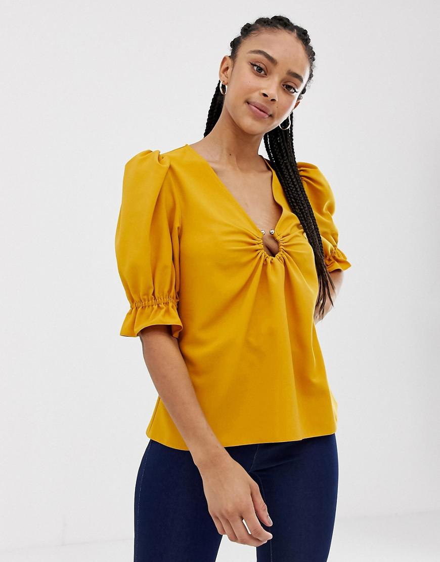 1da4ce1350442 Lyst - ASOS Tea Blouse With Ring Detail in Green