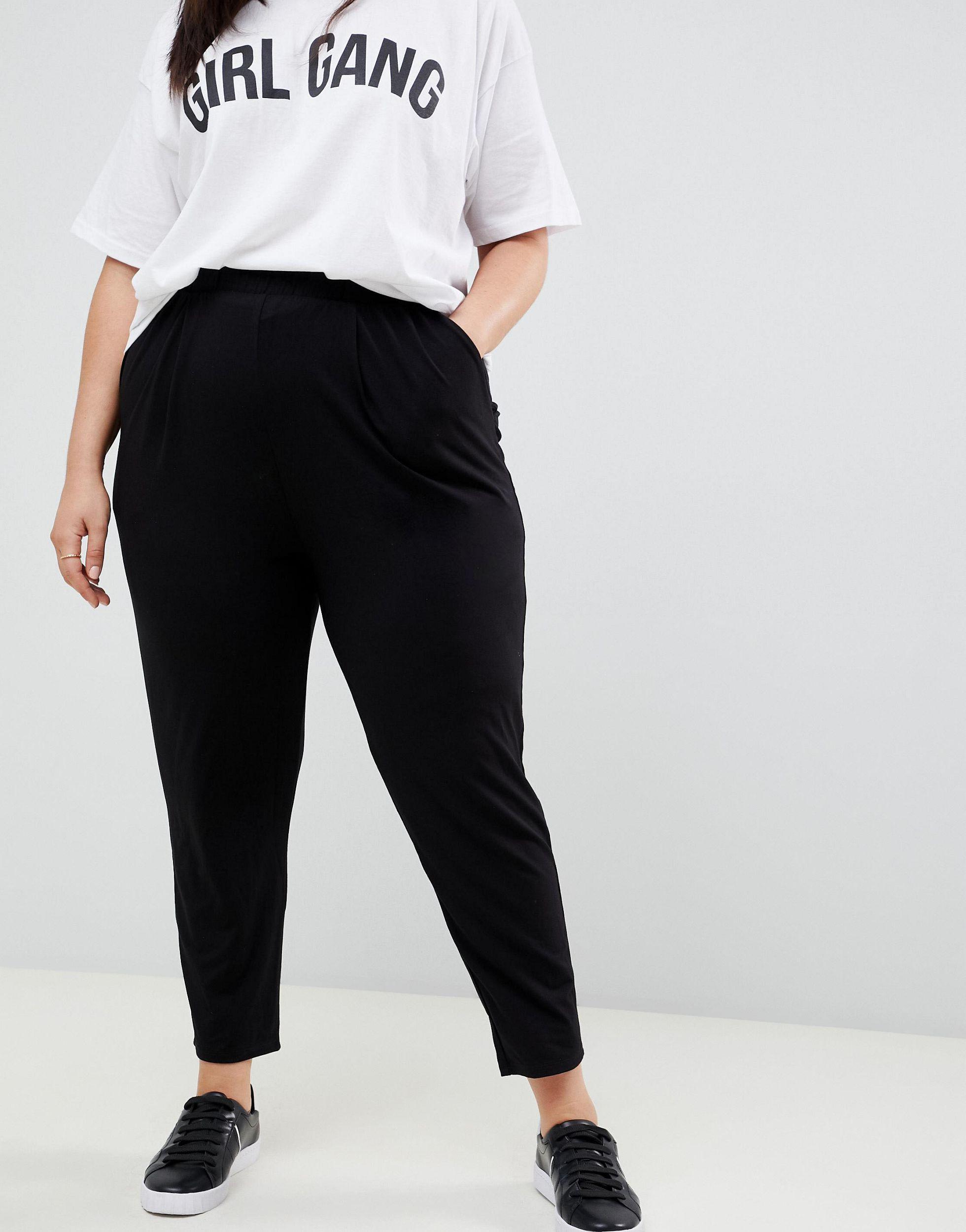 ASOS DESIGN Curve - Ultimate - Pantalon carotte en jersey Jean ASOS en coloris Noir