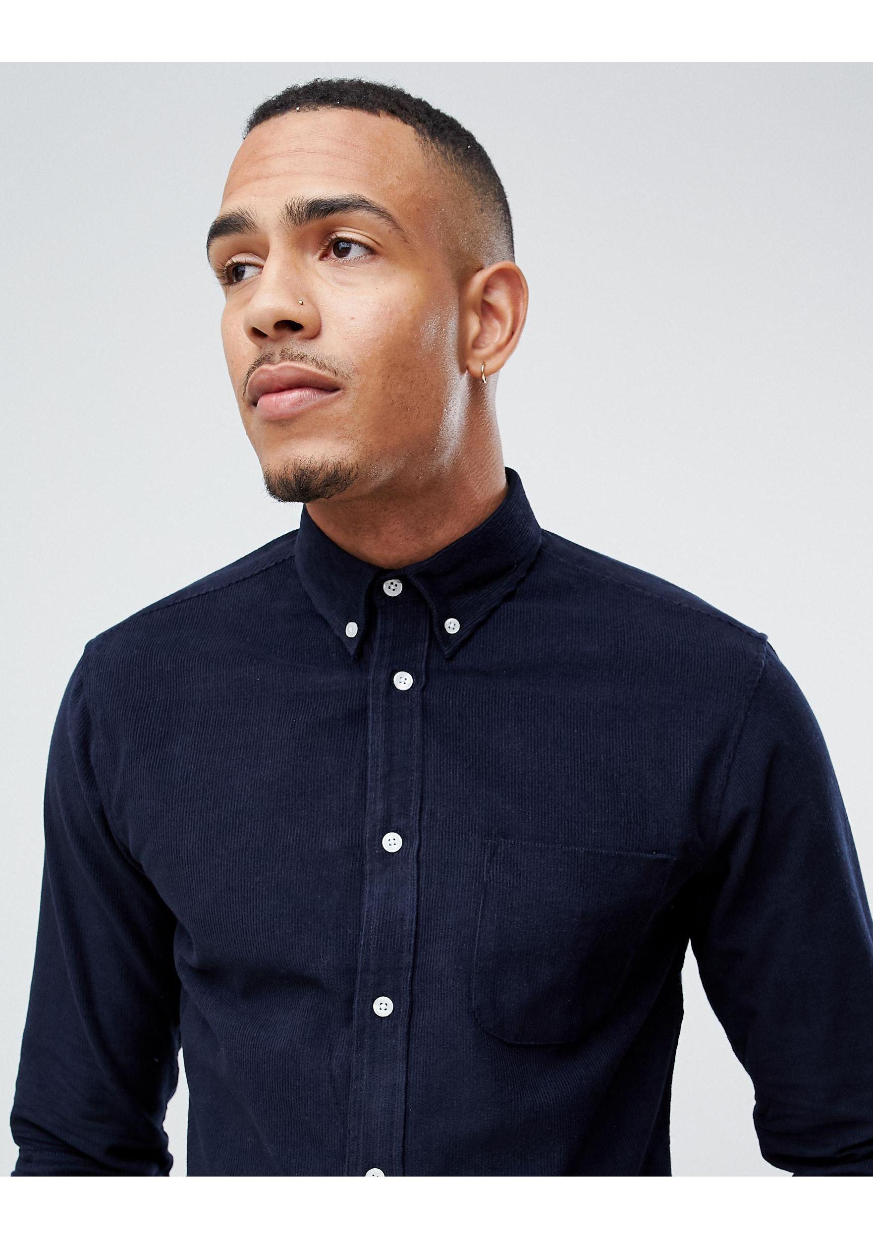 D-Struct Corduroy Tall - Overhemd in het Blauw voor heren