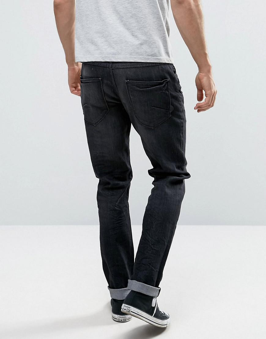 Solid Denim Slim Fit Jeans In Washed Black With Stretch in Blue for Men