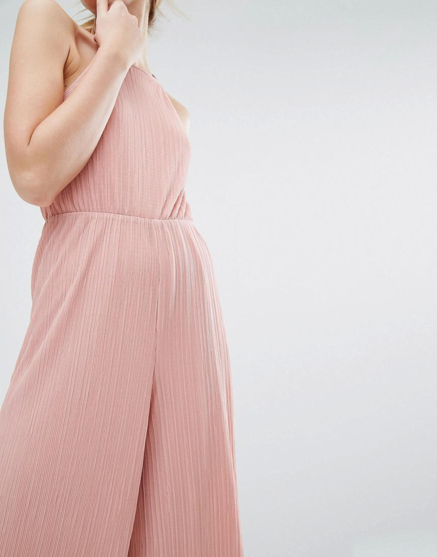 12db3f09208 Monki Ribbed Culotte Jumpsuit in Pink - Lyst