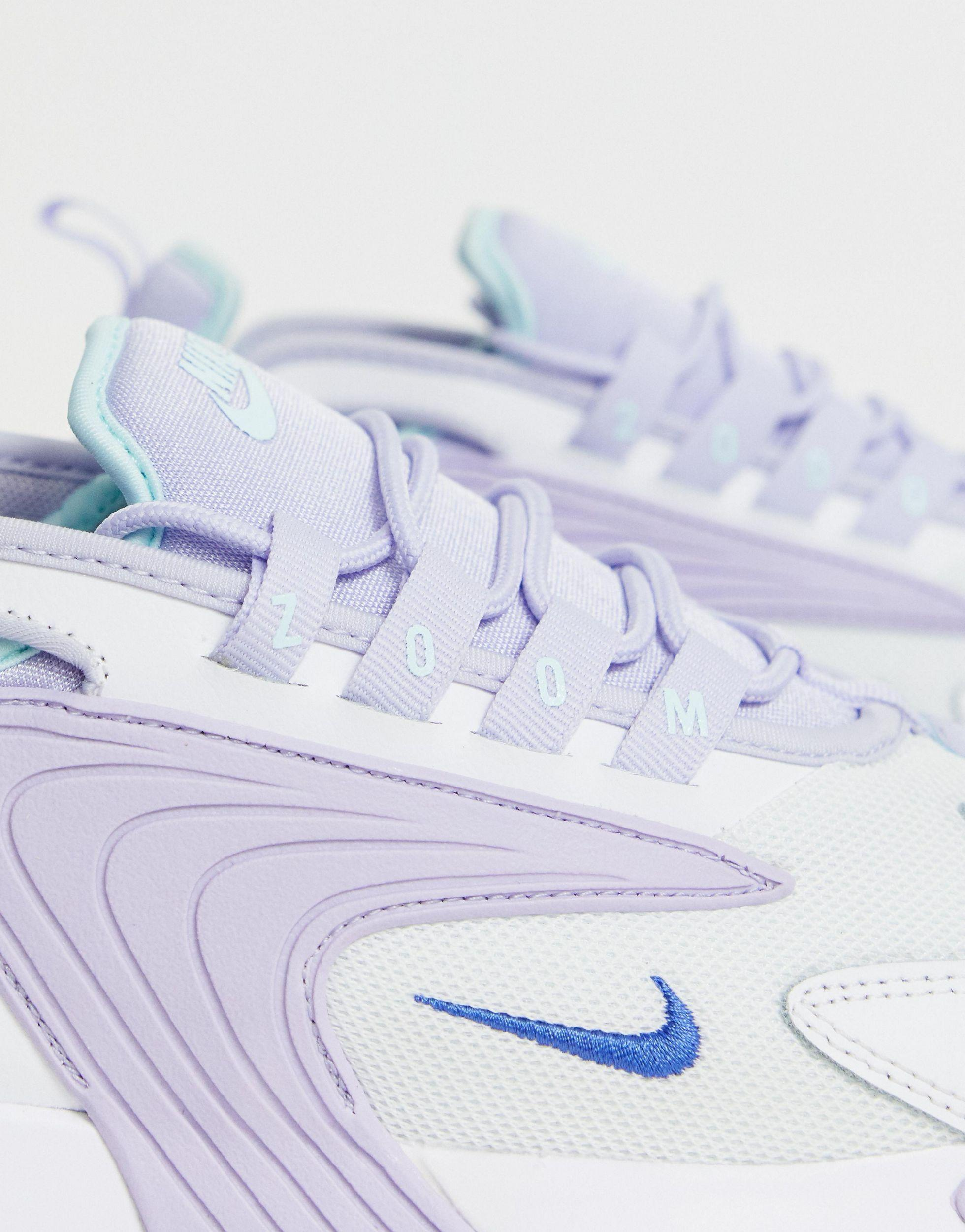 Nike Leather Lilac Zoom 2k Sneakers in