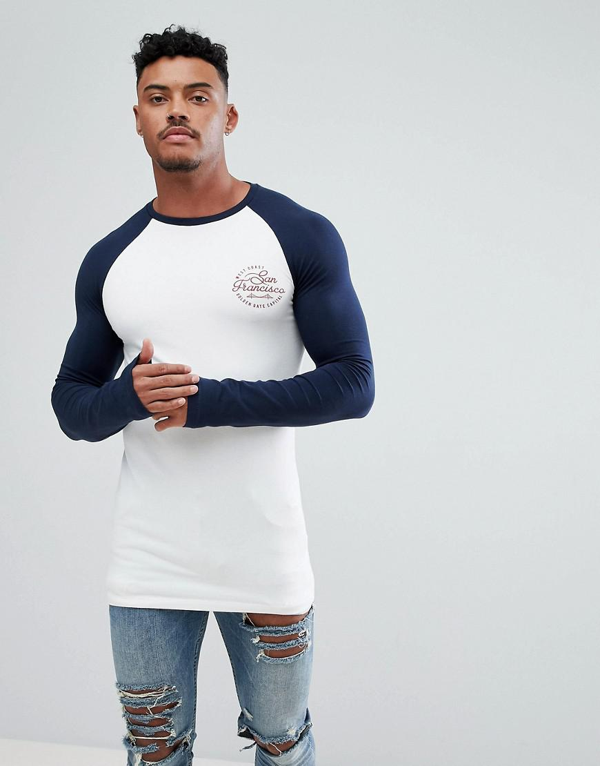 79f627dd45c ASOS White Muscle Fit Longline Long Sleeve Raglan T-shirt With A City Print  for men