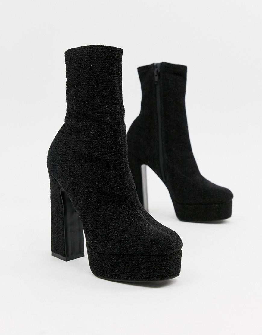 ASOS Denim Exposed Platform Sock Boots