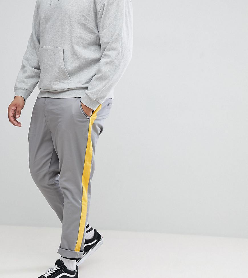 DESIGN Tall Tapered Trousers In Grey With Yellow Side Stripe - Grey Asos oetiXIR