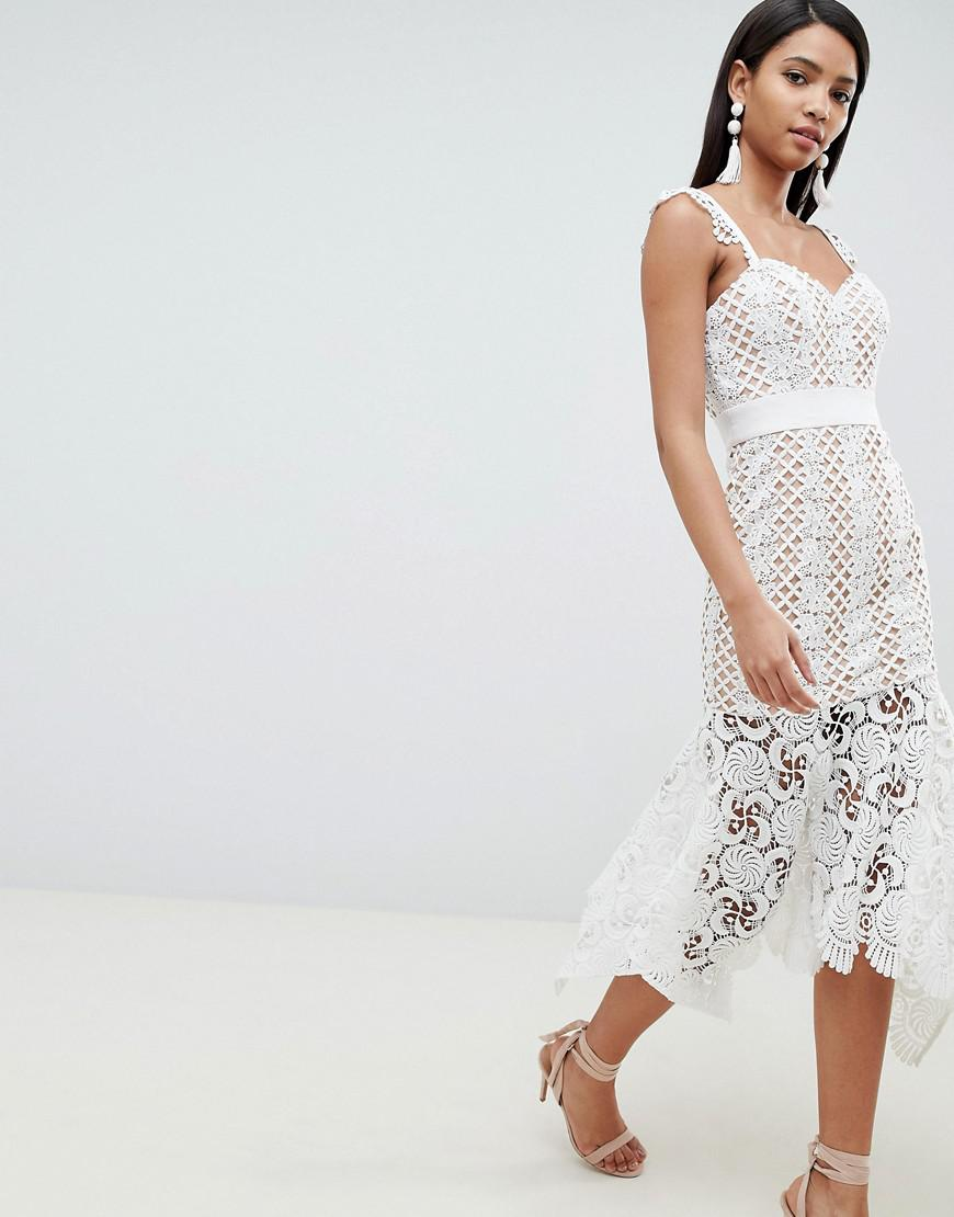 01952743b97c6 Jarlo All Over Cutwork Lace Midi Dress In Nude in White - Lyst