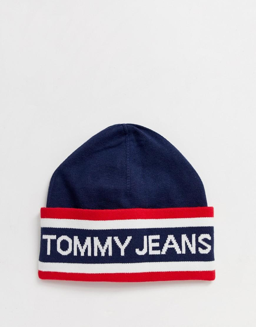95ca914601d Lyst - Tommy Hilfiger Heritage Logo Knitted Beanie In Navy in Blue for Men