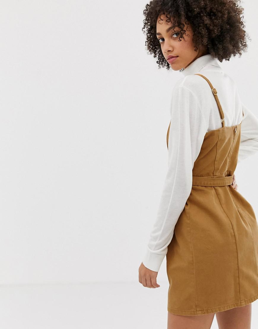 44c9294295 ASOS Denim Strappy Dress With Belt In Toffee - Lyst