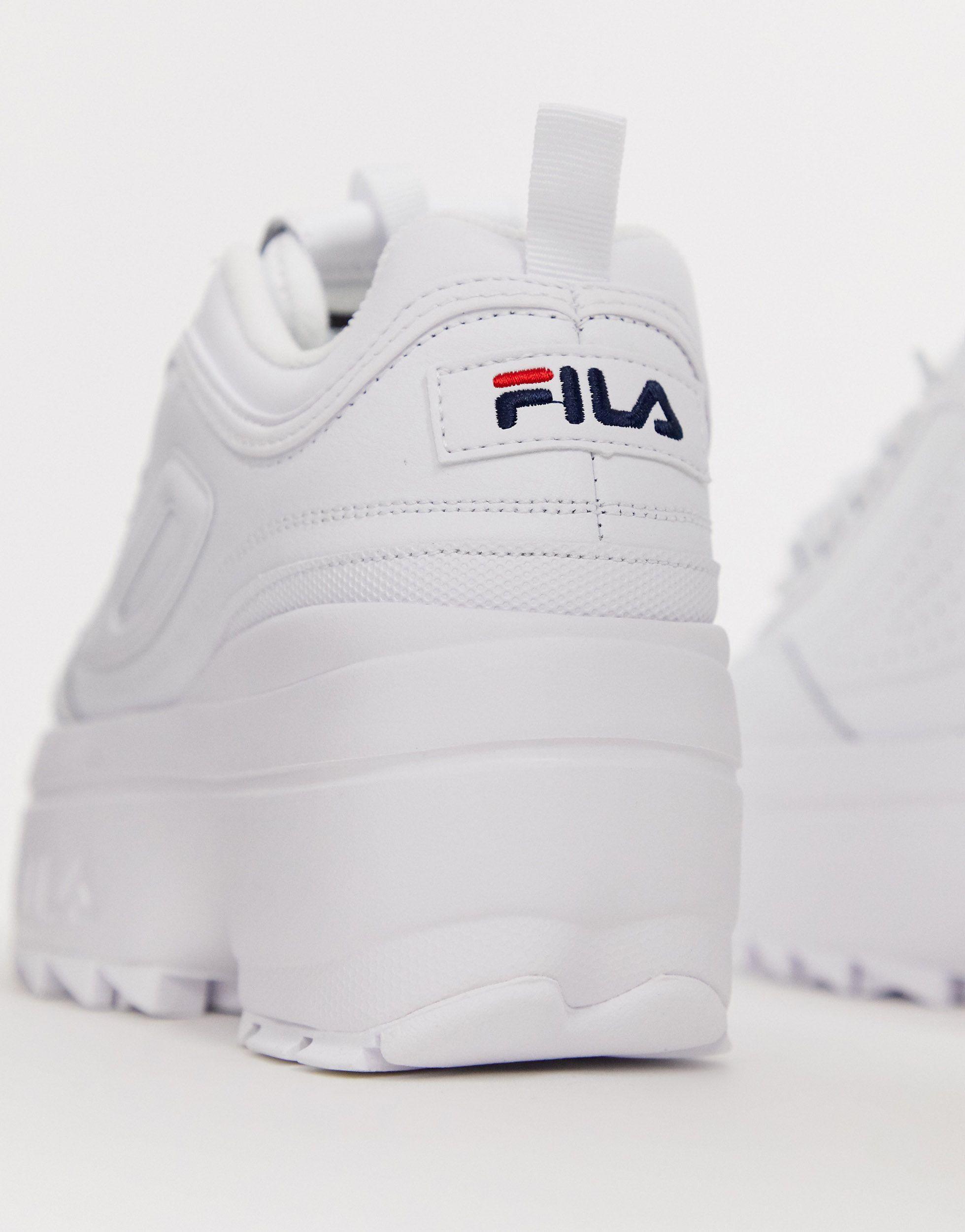 white fila platform trainers