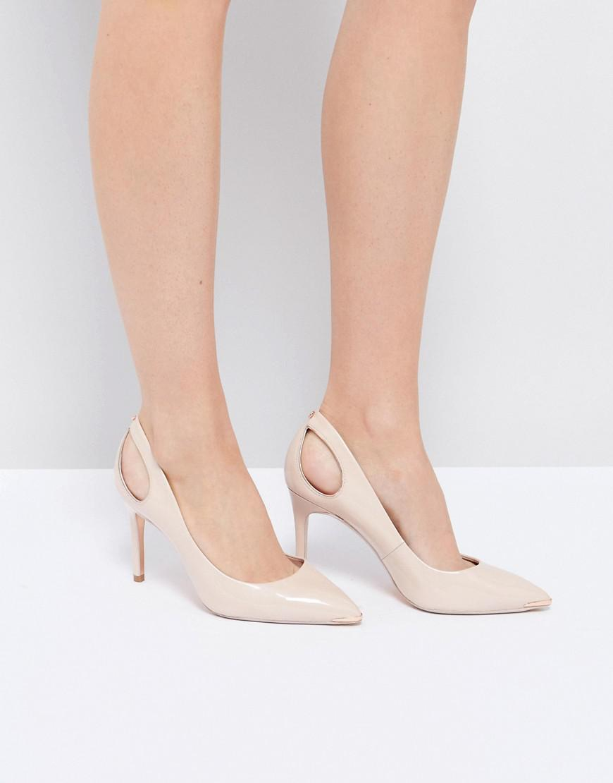 eb03813477556 Lyst - Ted Baker Jesamin Nude Patent Bow Cutout Court Shoes in Natural