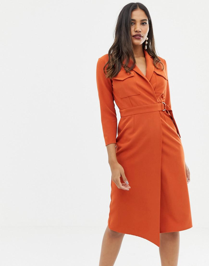 67acc4ee5339 Lyst - ASOS Utility Midi Dress With Pockets And D-ring Belt in Red
