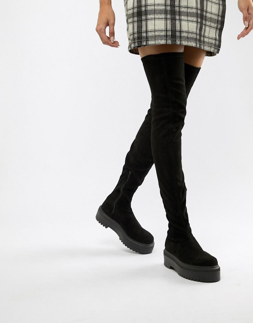 de524906f4c Lyst - ASOS Kami Flat Chunky Thigh High Boots in Black