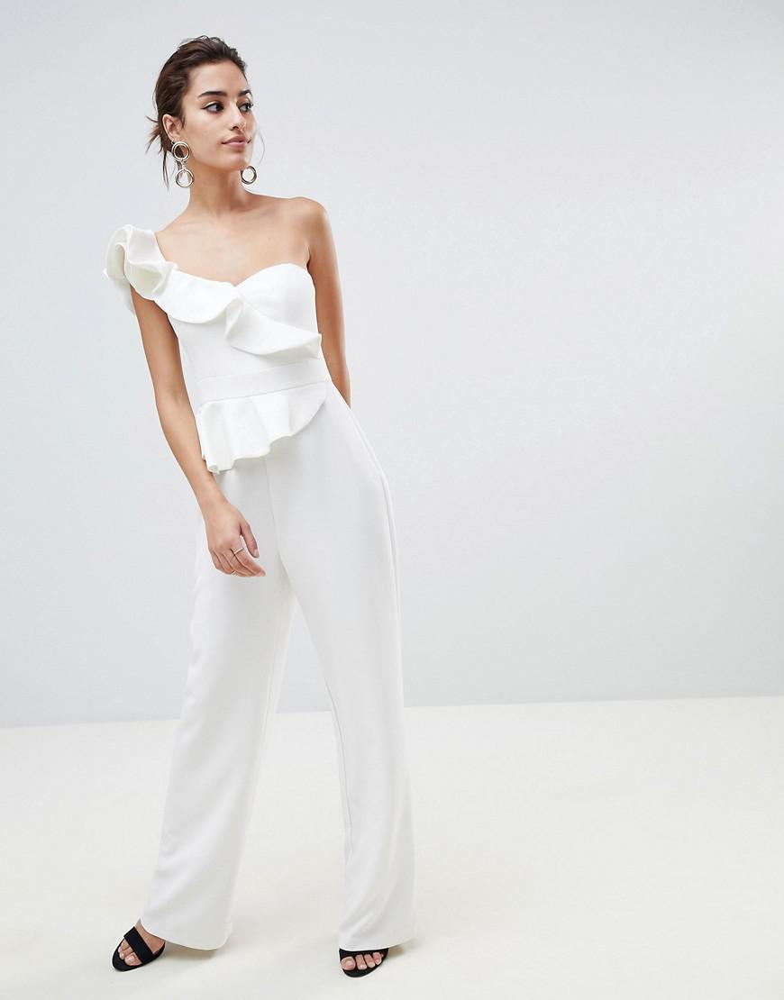 7d63be539b25 Forever New Structured Ruffle Jumpsuit in White - Lyst