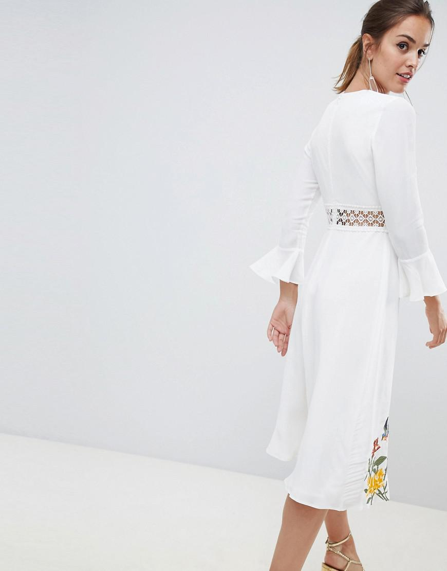 e57ee463c75 ASOS Premium Embroidered Midi Dress With Lace Inserts And Floral Embroidery  in White - Lyst