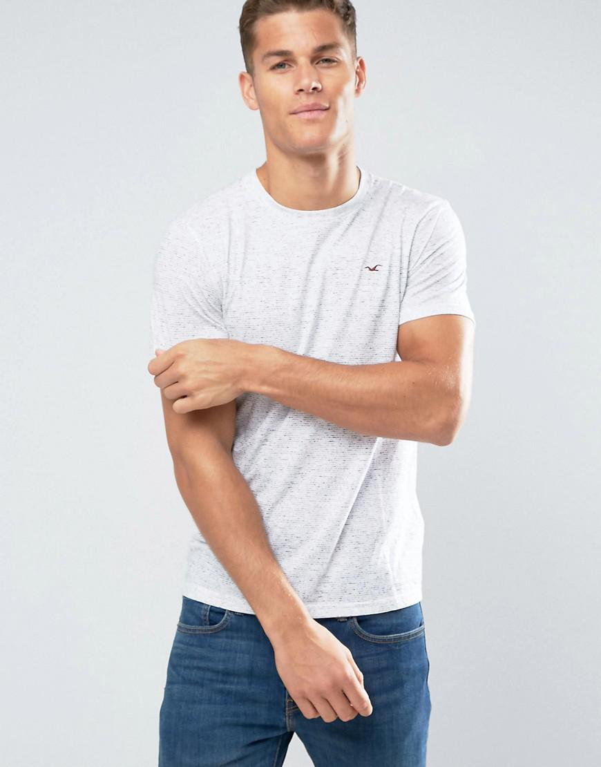 Lyst hollister crew t shirt slim fit white marl in white for Slim fit white t shirt