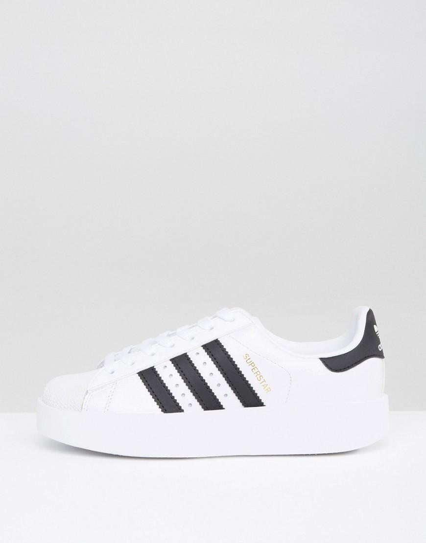 adidas Originals Bold Double Sole White And Black Superstar Trainers