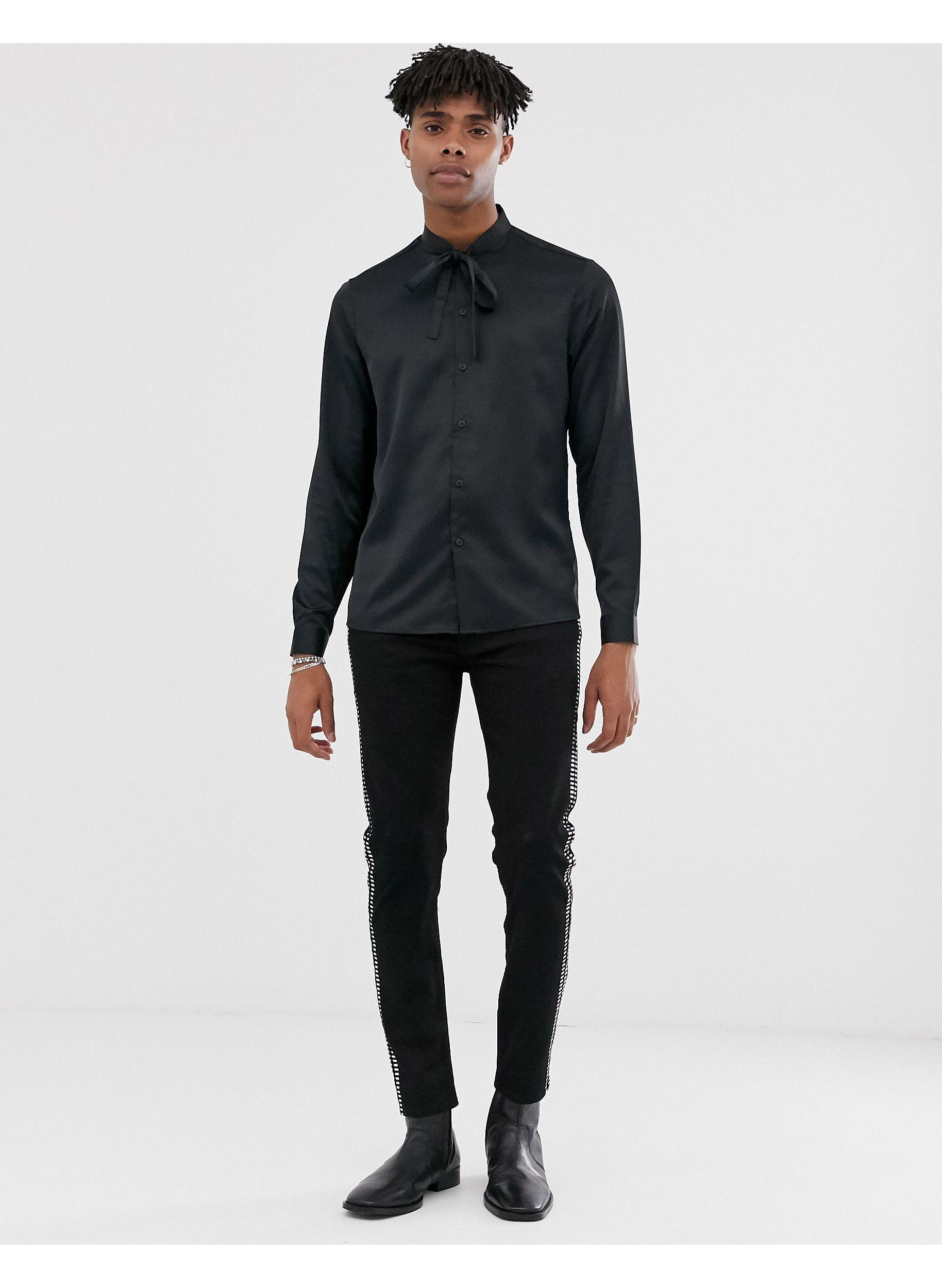 ASOS Satijn Regular-fit Satijnen Overhemd Met Gestrikte Hals in het Zwart voor heren
