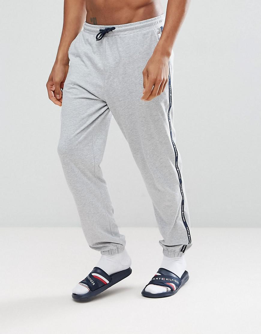 199d325a Tommy Hilfiger Cuffed Joggers Side Logo Tape In Grey Heather in Gray ...