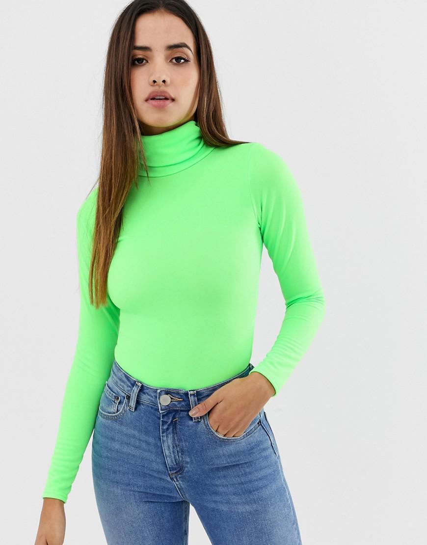 f73fc34ab1e PRETTYLITTLETHING - Roll Neck Long Sleeve Body In Neon Green - Lyst. View  fullscreen