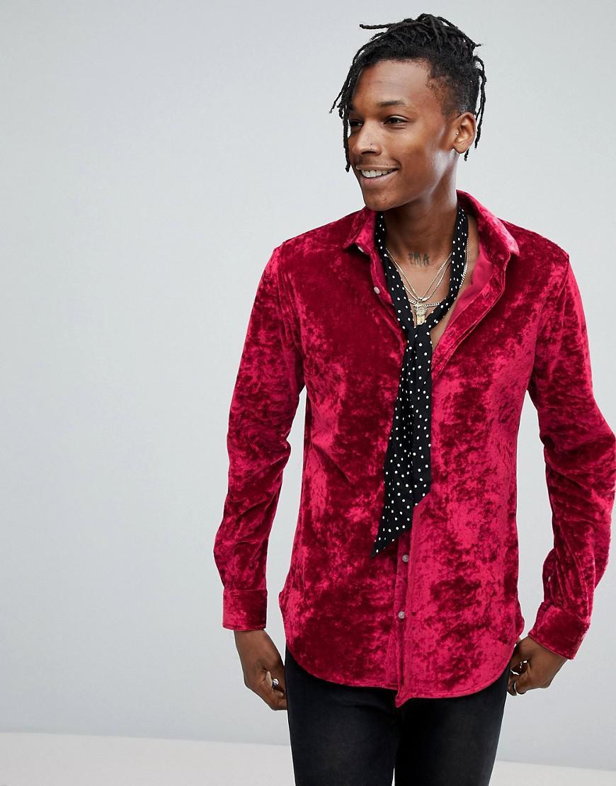 Lyst noose and monkey skinny velvet shirt in red for men for Red velvet button up shirt