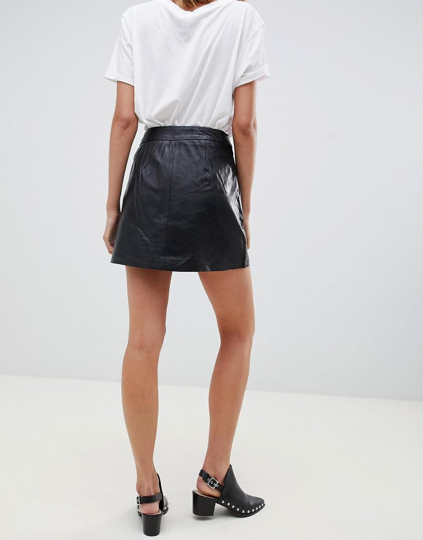 ace8978cd Lyst - Muubaa Impala Zip Front Leather A-line Skirt in Black