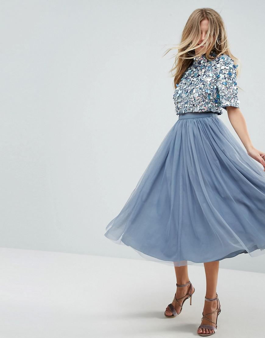 9cebe93a8b ASOS High Neck Embellished Crop Top Tulle Midi Dress in Blue - Lyst
