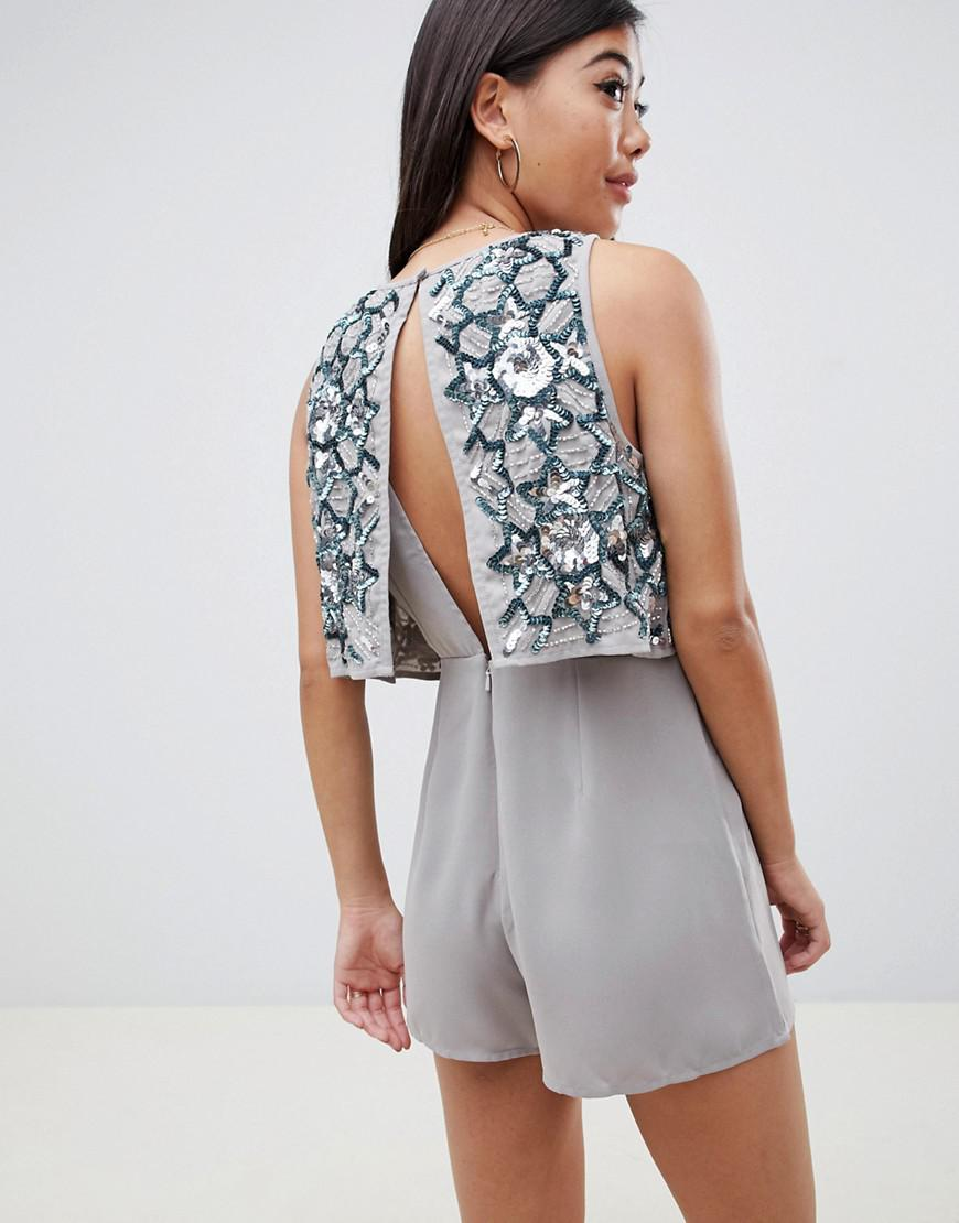 bfff7d0e58cb0 ASOS Asos Design Petite Star Embellished Layer Playsuit in Gray - Lyst