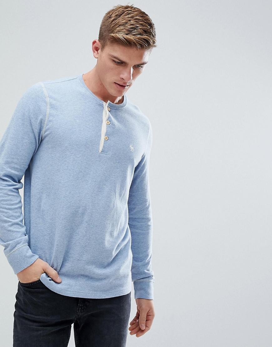 b1f52535 Abercrombie & Fitch Henley Contrast Placket Long Sleeve Top Tonal ...