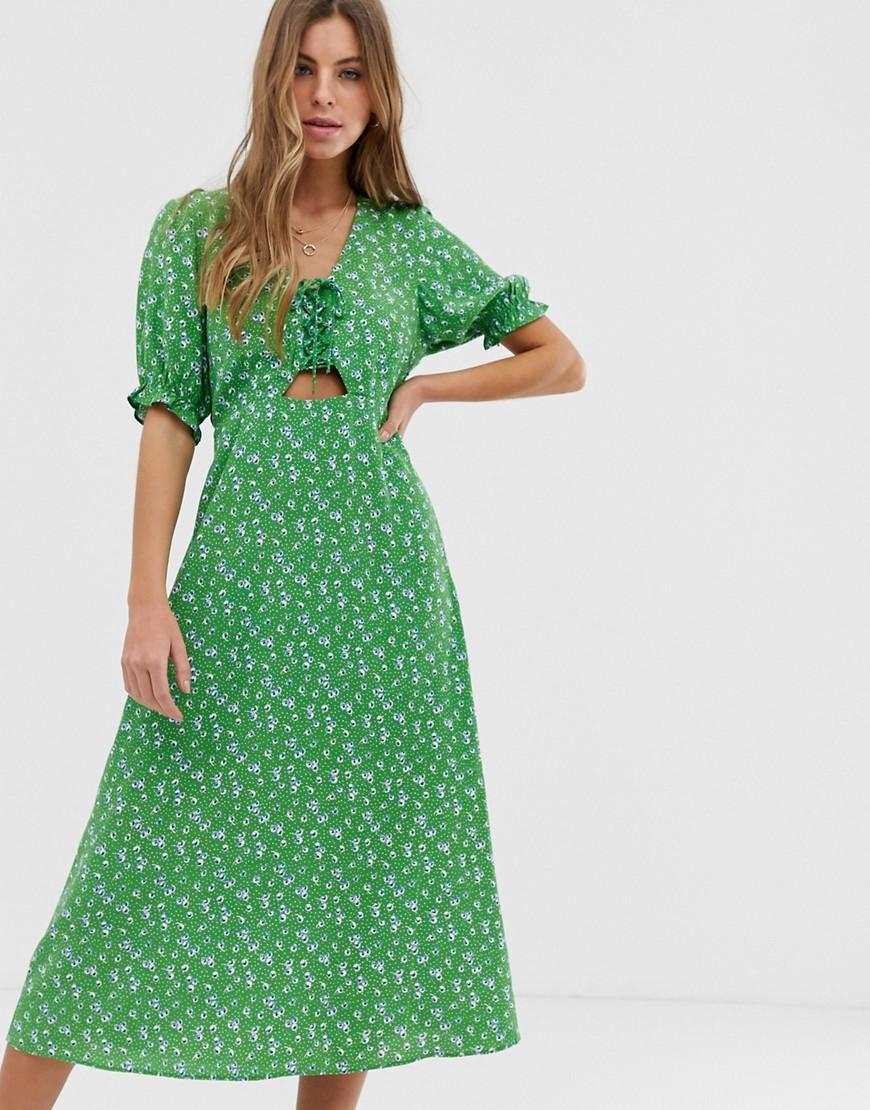 c4fc28916789 New Look Tie Front Midi Dress In Green Ditsy Floral Print in Green ...