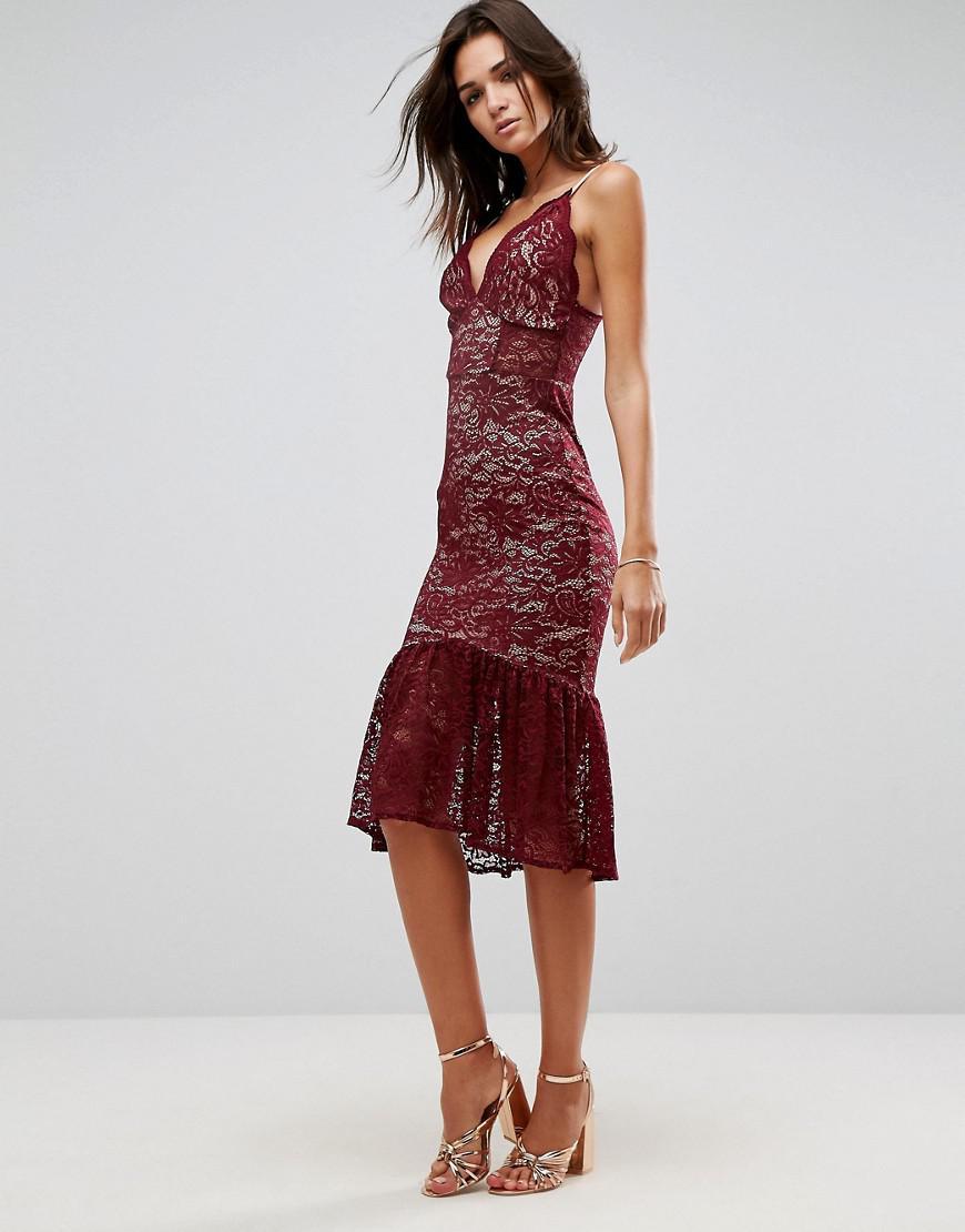 7cef91b216 ASOS Asos Lace Plunge Pephem Midi Dress in Red - Lyst