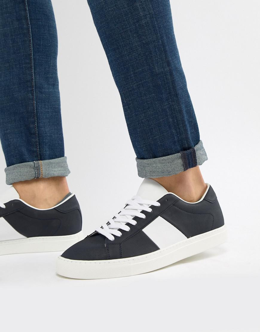 Pull&Bear Canvas Trainer With Side Stripe In Navy low shipping cheap online R6hbJLLM