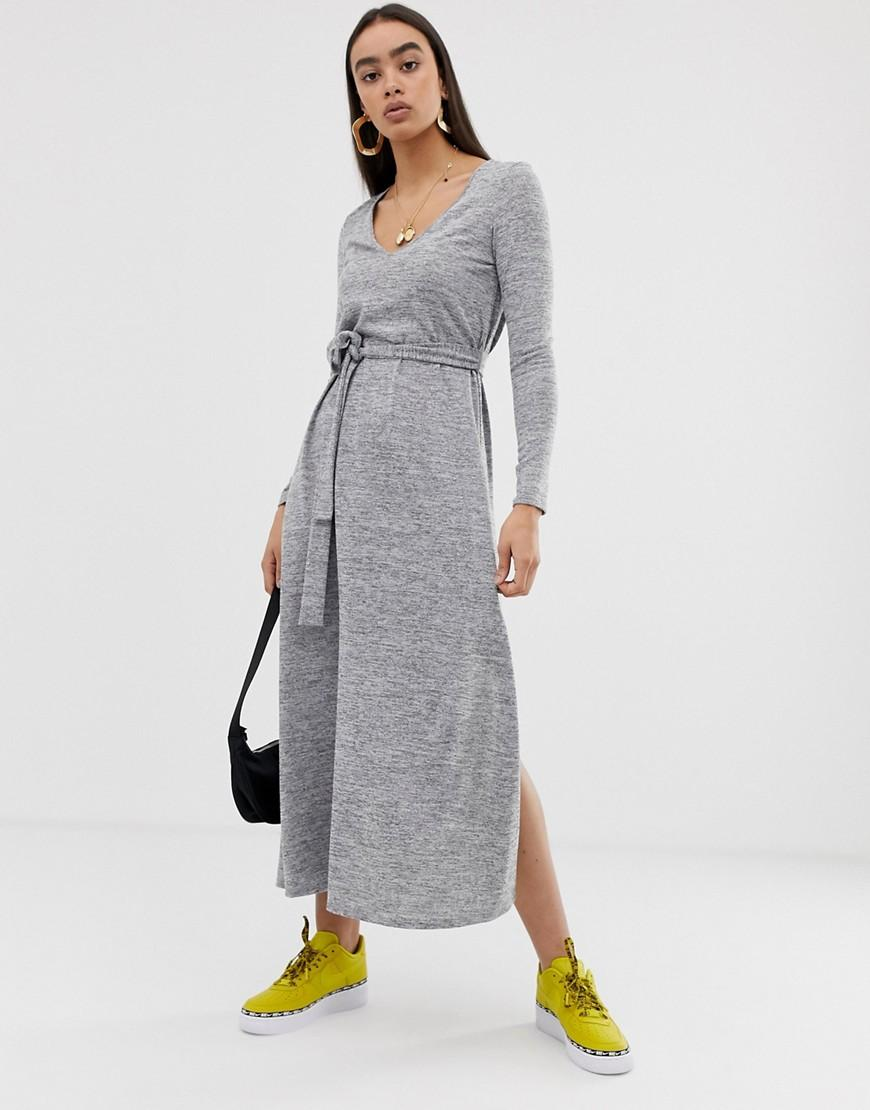 d75806bb0215d ASOS V Neck Belted Maxi Dress In Grey Marl in Gray - Lyst