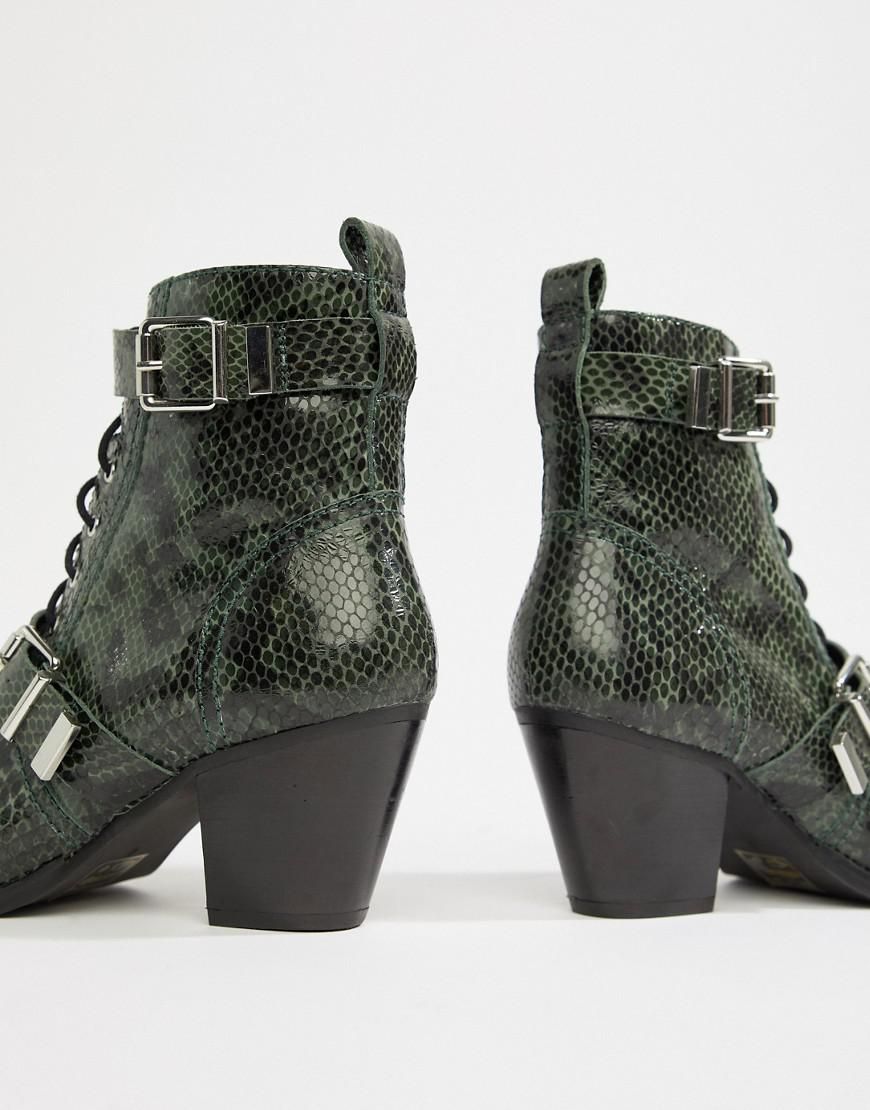 16018aa7999 Lyst - ASOS Rhythmic Premium Leather Western Lace Up Boots In Snake in Green