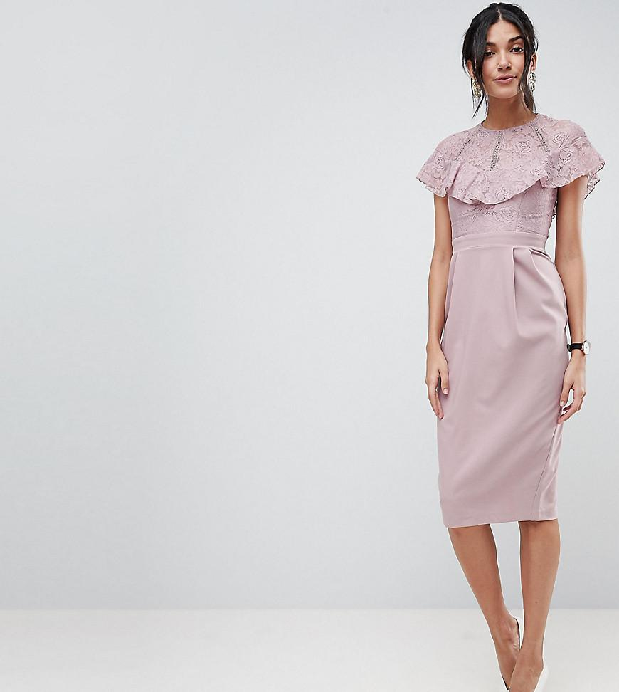 0758e2f88b5d1 Lyst - ASOS Lace Insert Pencil Midi Dress in Pink