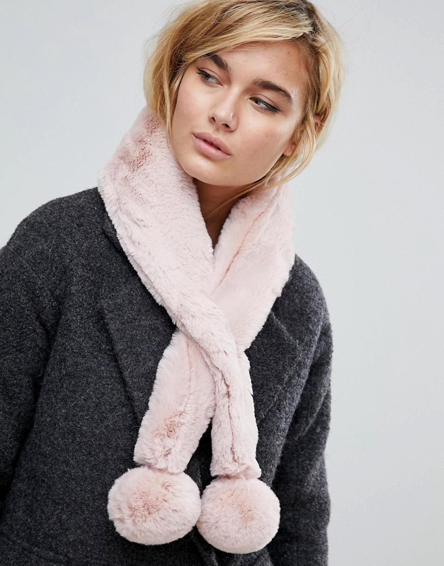 570cde139941 Ted Baker Pom Pom Faux Fur Scarf in Pink - Lyst