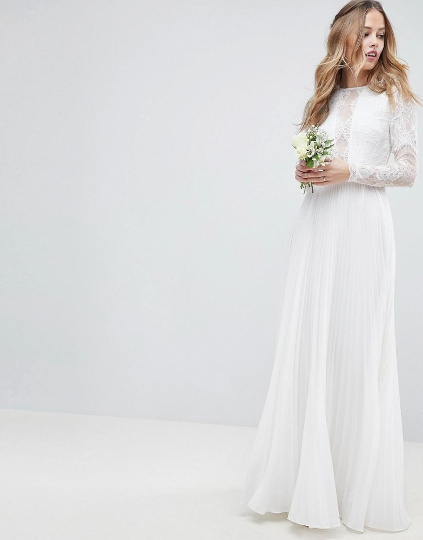 9ea6d9a24 ASOS Long Sleeve Lace Bodice Maxi Wedding Dress With Pleated Skirt ...