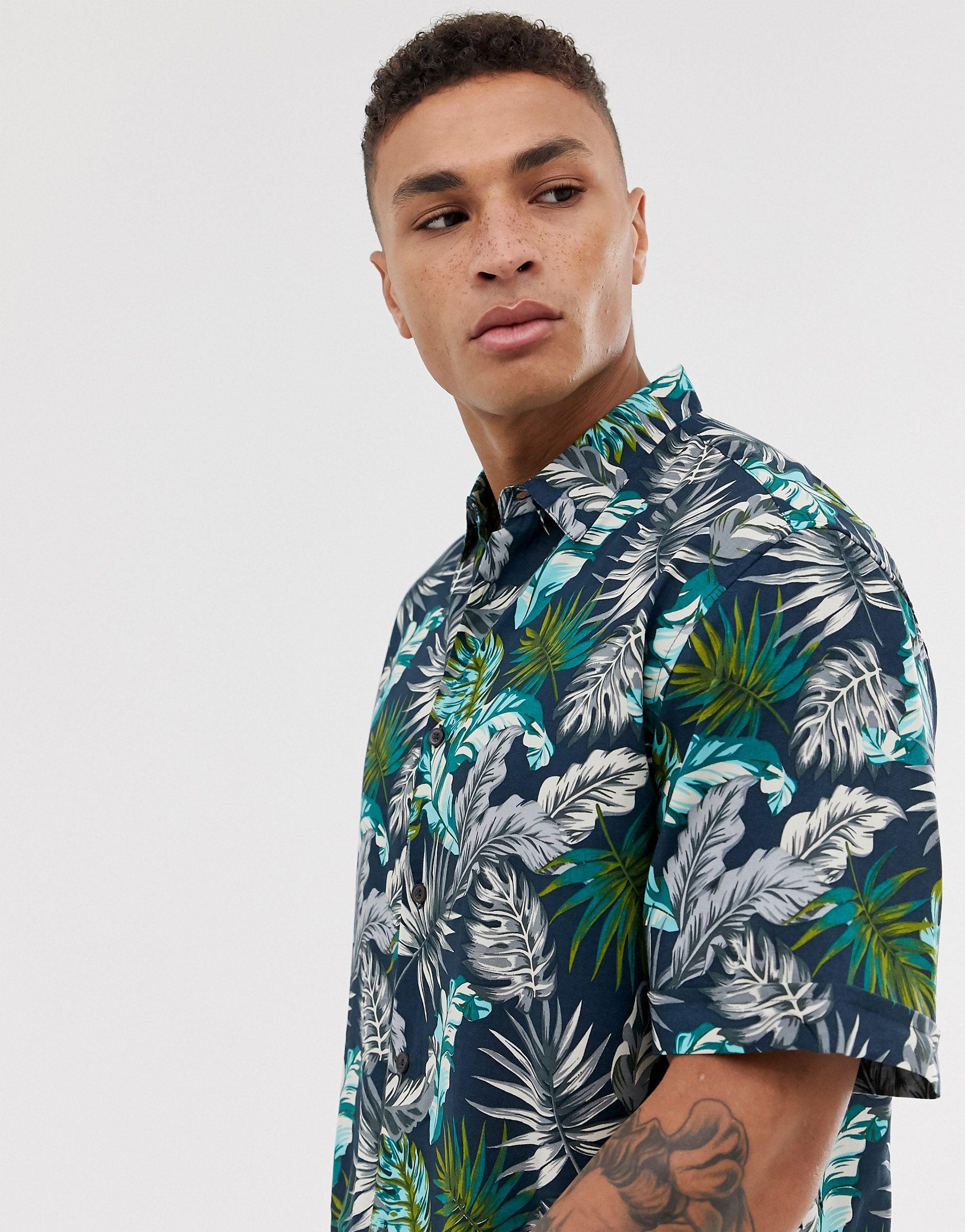 Burton Synthetisch Overhemd Met Reverskraag En Bladprint in het Blauw voor heren