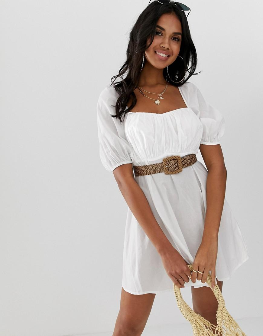 1e661a6f4f36b Lyst - ASOS Beach Milkmaid Dress With Natural Belt in White