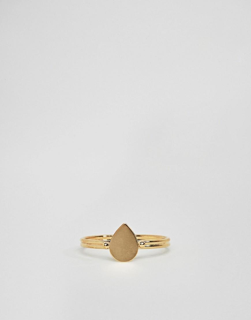 ASOS Denim Asos Design Curve Gold Plated Sterling Sleek Teardrop Ring in Silver (Metallic)