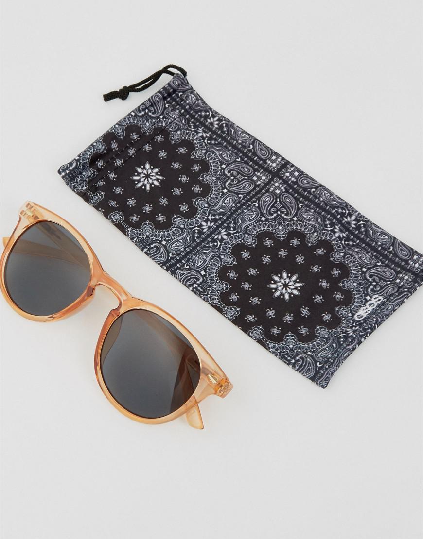 ASOS Denim Round Sunglasses In Crystal Orange for Men