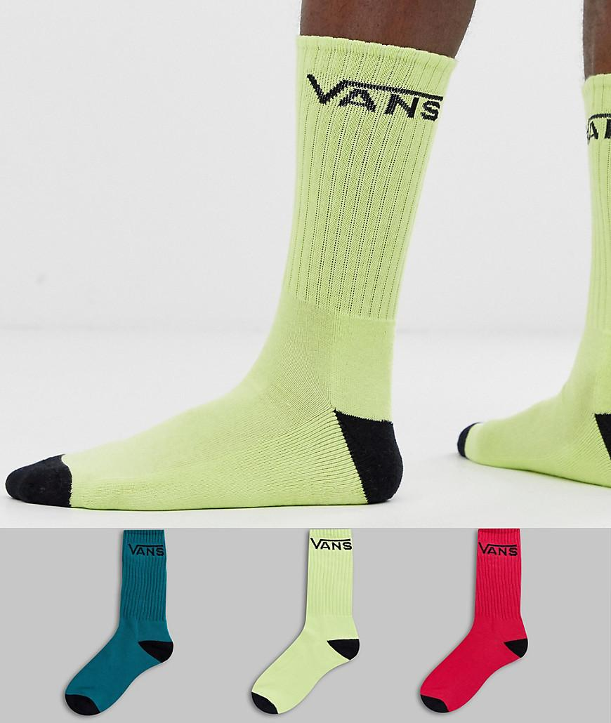 37ec21d46aa3f5 Vans Classic 3 Pack Socks In Multi Colour in Green for Men - Lyst