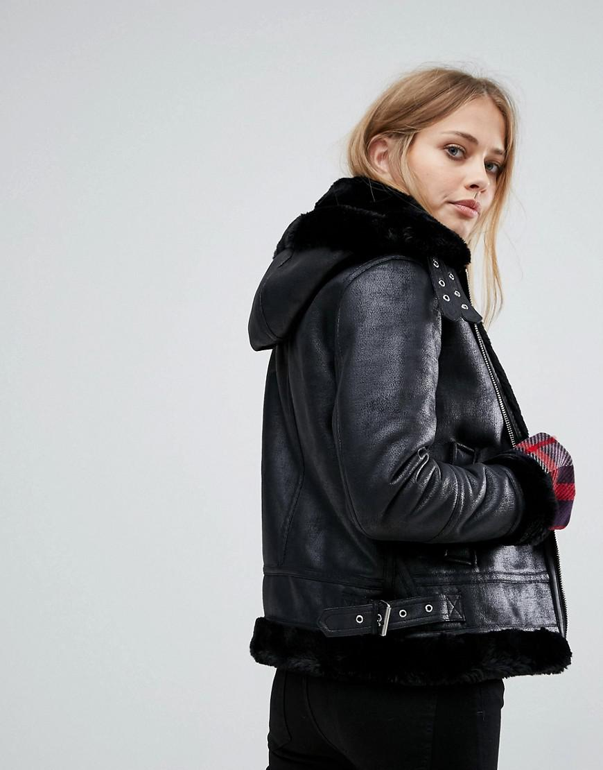 507daf2ce Warehouse Black Oversized Leather Look Hooded Aviator Jacket