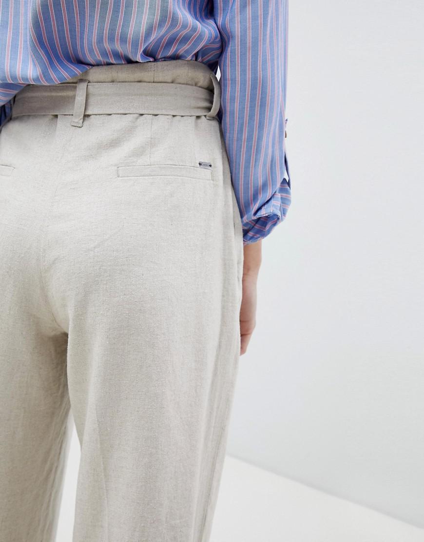 Linen Mix Cropped Wide Leg Trousers - Beige Esprit aJM80B