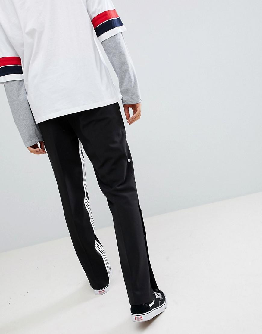 Lyst - Pantalon droit habill avec empicement ray et boutons-pression ASOS  pour homme en coloris Noir 15195a450f3