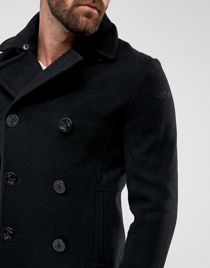 Schott NYC Mens Cyclone 2 Peacoat Reefer Long Sleeve Coat