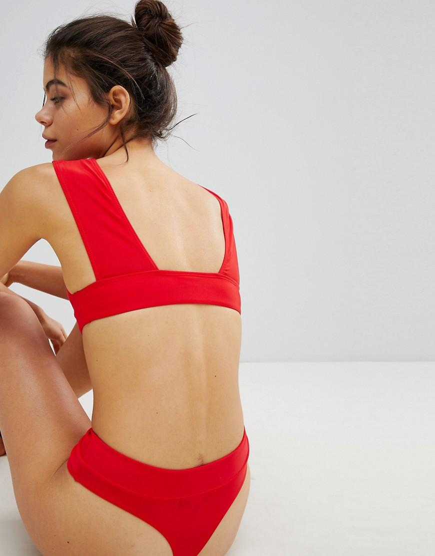 46673c86465a4 Missguided Mix And Match Super Plunge Bikini Top In Red in Red - Lyst